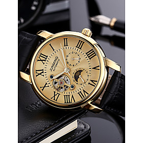 Men's Dress Watch Military Watch Aviation Watch Automatic self-winding Luxury Calendar / date / day Analog Brown / Gold Black / Silver White / Gold / Stainless