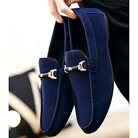 Men's Loafers  Slip-Ons Dress Shoes Business / Classic Daily Office  Career Nubuck Wear Proof Black / Red / Blue Spring