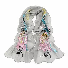 Women's Basic Chiffon Rectangle Scarf - Floral
