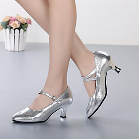 Women's Dance Shoes Cowhide Modern Shoes/Character Shoes Heel Customized Heel Customizable Gold / Silver / Performance Category:Modern Shoes; Upper Materials:Cowhide; Lining Material:Fabric; Heel Type:Customized Heel; Actual Heel Height:Customized Heel; Gender:Women's; Style:Heel; Outsole Materials:Rubber; Occasion:Outdoor,Performance; Customized Shoes:Customizable; Brand:Shall We; Listing Date:05/11/2018; Production mode:Self-produce; Foot Length:; Size chart date source:Provided by Supplier.