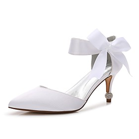 Women's Wedding Shoes Lace up Cone Heel Pointed Toe Bowknot / Satin Flower Satin Comfort / D'Orsay  Two-Piece / Basic Pump Spring Purple / Red / Champagne / An