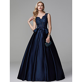 Ball Gown Peplum Blue Quinceanera Formal Evening Dress V Neck Sleeveless Floor Length Lace Satin with Bow(s) Beading 2020