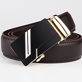 Men's Basic Leather Waist Belt - Geometric / Solid Colored