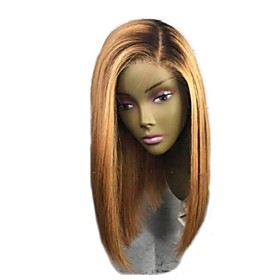 Remy Human Hair Lace Front Wig Bob Short Bob style Brazilian Hair Straight Blonde Two Tone Wig 130% Density with Baby Hair Ombre Hair Dark Roots Women's Short