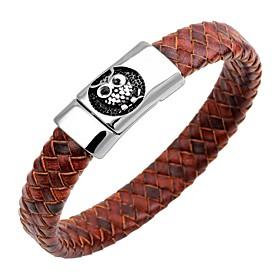 Men's Bracelet Bangles Leather Bracelet Magnetic Owl Animal Vintage Stainless Steel Bracelet Jewelry Dark Blue / Coffee / Brown For Gift Work / Steel Stainless