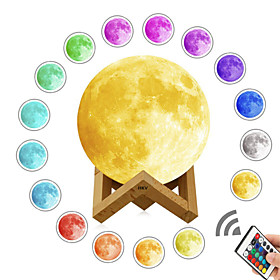 1 set LED 3D Print Moon Lamp Color-changing Rechargeable Dimmable Touch Sensor Remote Control 15cm 12cm Desktop Night Lamp USB Powered Upgr