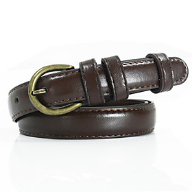 Women's Work Leather Skinny Belt - Solid Colored