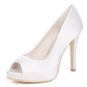 Women's Wedding Shoes Stiletto Heel Peep Toe Satin Basic Pump Spring Red / Champagne / Ivory