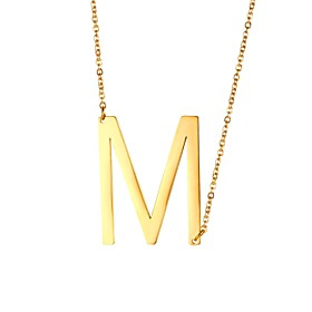 Men's Pendant Necklace Name Alphabet Shape Fashion Steel Stainless Gold Black Silver 51 cm Necklace Jewelry 1pc For Gift Daily