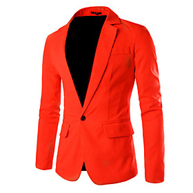 Men's Work Spring / Fall Regular Blazer, Solid Colored Peter Pan Collar Long Sleeve Cotton / Polyester Wine / Light Blue / Royal Blue / Business Casual / Slim