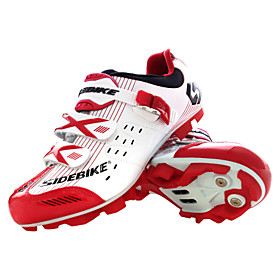 SIDEBIKE Mountain Bike Shoes Carbon Fiber Breathable Anti-Slip Cycling Red and White Women's Cycling Shoes / Breathable Mesh / Hook and Loop