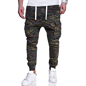 Men's Basic Plus Size Daily Weekend Slim Chinos / Cargo wfh Sweatpants - Color Block / Camo / Camouflage Print Army Green XXL XXXL XXXXL