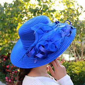 Tulle / Organza Hats / Headwear with Bowknot / Flower / Trim 1 Piece Wedding / Tea Party / Outdoor Headpiece / Women's / Bucket Hat / Straw Hat / Sun Hat