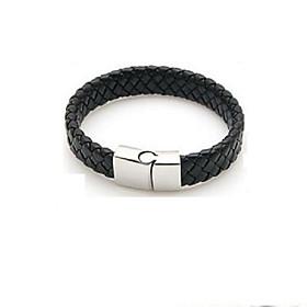 Men's Leather Bracelet Bracelet Single Strand Stylish Vintage Leather Bracelet Jewelry Black For Daily
