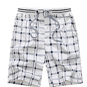 Men's Basic Plus Size Daily Shorts Pants Check Drawstring Fall White Yellow Orange L XL XXL