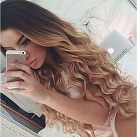 Remy Human Hair Lace Front Wig Layered Haircut Beyonce style Brazilian Hair Wavy Blonde Wig 130% Density with Baby Hair Ombre Hair Natural Hairline Women's Med
