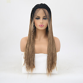 Synthetic Lace Front Wig Box Braids Braid Lace Front Wig Blonde Long Black / Strawberry Blonde Synthetic Hair 24 inch Women's Adjustable Heat Resistant Women B