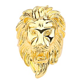 Men's Ring 1pc Gold Copper Rock Daily Jewelry 3D Lion