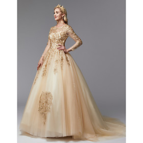 Ball Gown Wedding Dresses Jewel Neck Sweep / Brush Train Lace Tulle Long Sleeve Glamorous See-Through Backless Modern with Beading Appliques 2020 / Illusion Sl