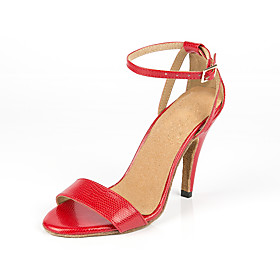 Women's Dance Shoes Faux Leather Latin Shoes Heel Slim High Heel Customizable Red / Performance / Practice