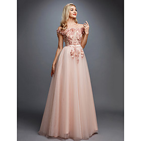 A-Line Floral Prom Formal Evening Valentine's Day Dress Off Shoulder Sleeveless Sweep / Brush Train Tulle Over Lace with Appliques 2020