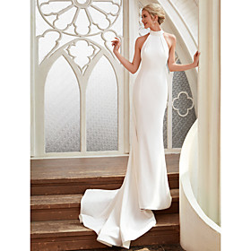 Sheath / Column Wedding Dresses Halter Neck Court Train Chiffon Satin Regular Straps Simple Backless Elegant with 2020 / Royal Style