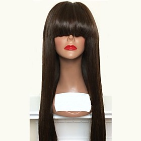 Virgin Human Hair Lace Front Wig Layered Haircut With Bangs style Brazilian Hair Straight Black Wig 180% Density with Baby Hair Natural Hairline Women's Long H