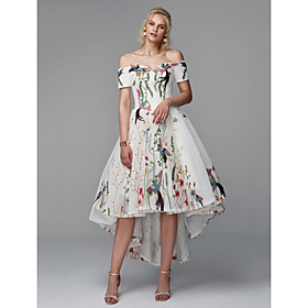 Ball Gown Elegant Floral High Low Cocktail Party Prom Dress Off Shoulder Short Sleeve Asymmetrical Polyester with Embroidery 2020