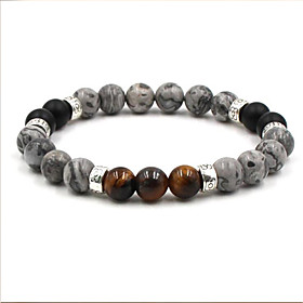 Men's Agate Hologram Bracelet Casual European Ethnic Agate Bracelet Jewelry Brown / White For Daily Going out