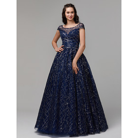 Ball Gown Sparkle Blue Quinceanera Prom Dress Illusion Neck Short Sleeve Floor Length Tulle Sequined with Crystals Sequin 2020