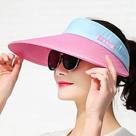 Women's Sun Hat Rayon Active - Color Block Summer Black Fuchsia / Fabric