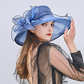 Women's Bucket Hat Floppy Hat Straw Hat Lace Party Holiday - Patchwork Ruffle All Seasons Wine Light Brown White