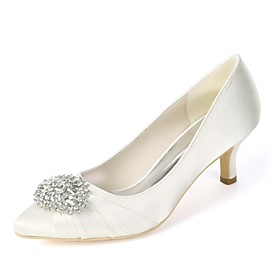 Women's Wedding Shoes Glitter Crystal Sequined Jeweled Plus Size Kitten Heel Pointed Toe Basic Pump Wedding Party  Evening Rhinestone Solid Colored Satin White