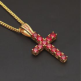 Men's Cubic Zirconia Pendant Necklace Chain Necklace Stylish Cuban Link Cross Faith European Trendy Hip-Hop Copper Rhinestone Dark Red Black 60 cm Necklace Jew