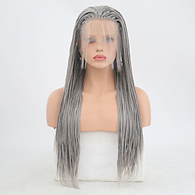 Synthetic Lace Front Wig Box Braids Braid Lace Front Wig Long Grey Synthetic Hair 24 inch Women's Adjustable Heat Resistant Women Gray