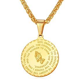 Men's Pendant Necklace Vintage Style franco chain Creative Classic Inspirational faith Hip Hop Stainless Steel Black Gold Silver Blue Hands Golden Hands 55 cm