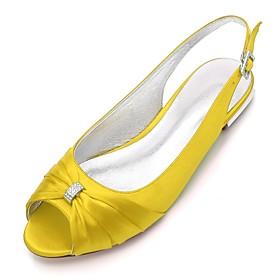 Women's Wedding Shoes Plus Size Flat Heel Peep Toe Comfort Slingback Wedding Party  Evening Rhinestone Solid Colored Satin White / Black / Purple / EU39