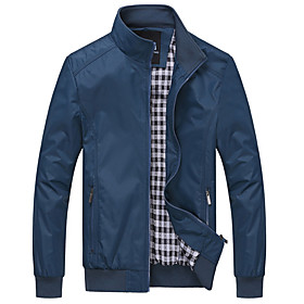 Men's Daily Regular Jacket, Contemporary Stand Long Sleeve Polyester Black / Blue / Navy Blue