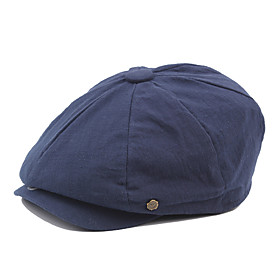 Men's Vintage Work Cotton Polyester Beret Hat-Solid Colored Fall Winter Orange Navy Blue Gray