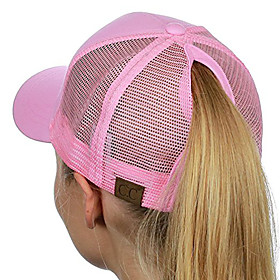 Women's Active Basic Cute Cotton Baseball Cap-Solid Colored Spring Summer Black White Blushing Pink