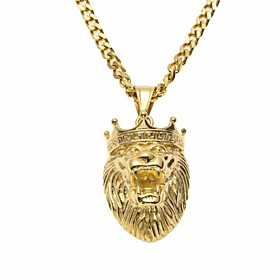 Men's Pendant Necklace Chain Necklace Cuban Link Lion Stylish Trendy Hip-Hop Titanium Steel Steel Stainless Gold 70 cm Necklace Jewelry 1pc For Street Going ou