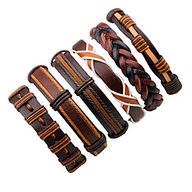 Men's Leather Bracelet Rope Twisted woven Fashion Leather Bracelet Jewelry Black / Brown / Brown 2 For Stage Street