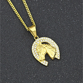 Men's Cubic Zirconia Pendant Necklace Chain Necklace Cuban Link Horse Horse Head Creative European Trendy Hip-Hop Rhinestone Steel Stainless Gold 60 cm Necklac