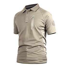 Men's Hiking Tee shirt Short Sleeve Outdoor Breathable Quick Dry Wear Resistance Tee / T-shirt Top Summer Polyester Shirt Collar Camping / Hiking Outdoor Exerc
