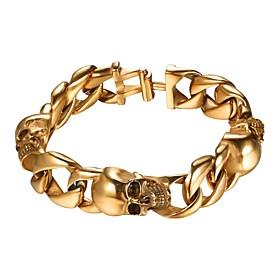 Men's Bracelet Link / Chain Skull Fashion Stainless Steel Bracelet Jewelry Black / Gold / Silver For Gift Street
