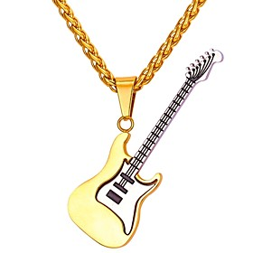 Men's Pendant Necklace Rope franco chain Music Guitar Fashion Stainless Steel Gold 55 cm Necklace Jewelry 1pc For Gift Daily
