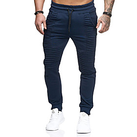 Men's Active / Basic Plus Size Daily Sports Slim wfh Sweatpants Pants - Solid Colored Spring Summer Dark Gray Navy Blue Army Green XL XXL XXXL