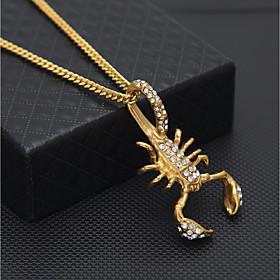 Men's Cubic Zirconia Pendant Necklace Chain Necklace Cuban Link Scorpion Statement European Hip-Hop Hip Hop Rhinestone Steel Stainless Gold 60 cm Necklace Jewe