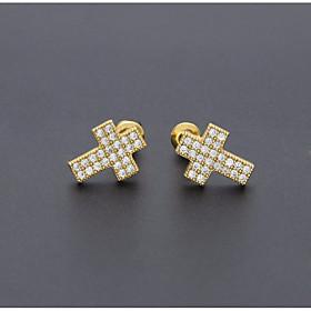 Men's Cubic Zirconia Stud Earrings Stylish Cross European Trendy Hip-Hop Rhinestone Earrings Jewelry Gold / Silver For Daily Street 1 Pair