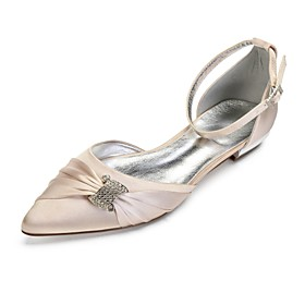 Women's Wedding Shoes Glitter Crystal Sequined Jeweled Plus Size Flat Heel Pointed Toe Comfort Wedding Party  Evening Rhinestone Sparkling Glitter Solid Colore